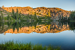 """""""Lower Rock Lake 1"""" - Photograph of Lower Rock Lake in the back country of the Tahoe National Forest, shot near sunset."""