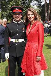 Queen Rania of Jordan poses with her son, Crown Prince Hussein, who just graduated from Royal Military Academy Sandhurst (RMAS), known as Sandhurst, on August 11, 2017, in Camberley, south west of London, United Kingdom. Photo by Balkis Press/ABACAPRESS.COM