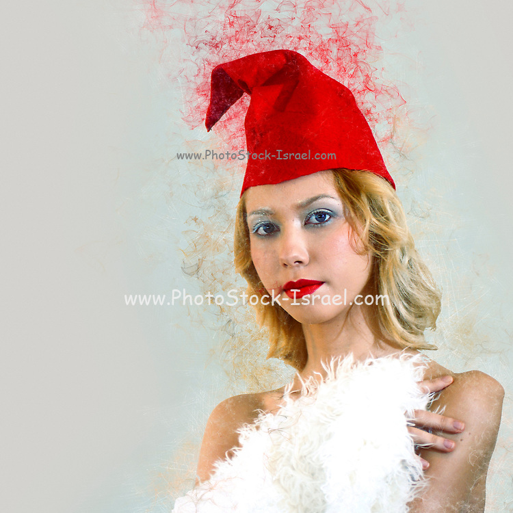 Digitally enhanced image of a young model with red cap and white fur coat