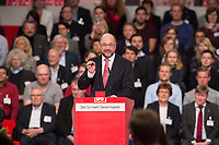 19 MAR 2017, BERLIN/GERMANY:<br /> Martin Schulz, SPD Parteivorsitzende und Spitzenkandidat der Bundestagswahl, haelt die Abschlussrede des Parteitages, a.o. Bundesparteitag, Arena Berlin<br /> IMAGE: 20170319-01-100<br /> KEYWORDS: party congress, social democratic party, candidate, speech