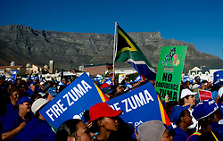 Aug. 8, 2017  - Cape Town, South Africa - Demonstrators protest to demand the resignation of South African President Jacob Zuma in Cape Town. South African President Jacob Zuma on Tuesday survived a no confidence motion by secret ballot. Parliament Speaker Baleka Mbete announced that 198 Members of Parliament voted against the motion, while 177 voted in favor and nine abstained. (Credit Image: © Jaco Marais/Xinhua via ZUMA Wire)