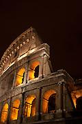 Night at the Roman Coliseum, Rome, Lazio, Italy.