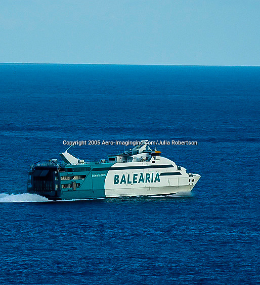 Aerial Drone view of Balearia Ferry entering the Port of Ibiza Spain