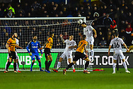 George Friend (3) of Middlesbrough heads the ball out of danger during the The FA Cup match between Newport County and Middlesbrough at Rodney Parade, Newport, Wales on 5 February 2019.