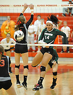 Elyria Catholic High School vs Cuyahoga Heights High School  varsity volleyball on October 22, 2013. Images © David Richard and may not be copied, posted, published or printed without permission.