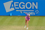 Alison Riske (USA) in action during her match against Heather Watson (GBR).  The Aegon Open Nottingham 2017, international tennis tournament at the Nottingham tennis centre in Nottingham, Notts , day 2 on Tuesday 13th June 2017.<br /> pic by Bradley Collyer, Andrew Orchard sports photography.