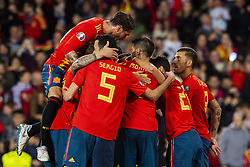 March 23, 2019 - Valencia, SPAIN - 190323 Rodrigo Moreno Machado of Spain celebrates with his teammates after scoring 1-0 during the UEFA Euro Qualifier football match between Spain and Norway on March 23, 2019 in Valencia..Photo: Fredrik Varfjell / BILDBYRÃ…N / kod FV / 150220 (Credit Image: © Fredrik Varfjell/Bildbyran via ZUMA Press)
