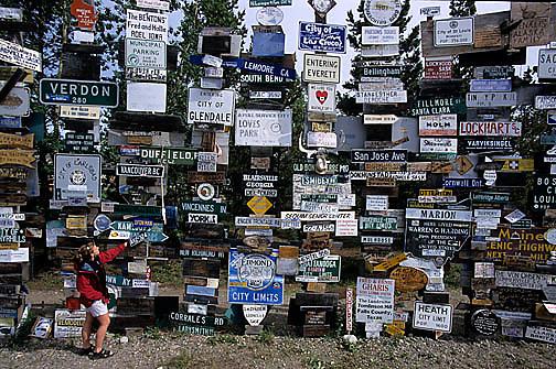 Yukon, Canada, Wall of signs in Watson Lake.