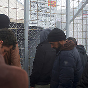 Syrian refugees await the re-opening of the border post between Greece and Macedonian near the small village of Idomeni, Greece. Around 13,000 migrants and refugees, mostly from the Middle East and African nations, are believe to be stranded here awaiting a chance to proceed their journey towards Germany and other northern European countries.