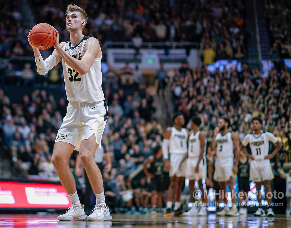 WEST LAFAYETTE, IN - NOVEMBER 16: Matt Haarms #32 of the Purdue Boilermakers shoots a free throwduring the game against the Chicago State Cougars at Mackey Arena on November 16, 2019 in West Lafayette, Indiana. (Photo by Michael Hickey/Getty Images) *** Local Caption *** Matt Haarms