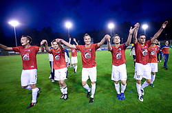 Players of Rudar (Tuomas Marko Kolsi, Denis Grbic, Marko Pokleka, Almir Sulejmanovic, Rusmin Dedic) celebrates at 1st Round of Europe League football match between NK Rudar Velenje (Slovenia) and Trans Narva (Estonia), on July 9 2009, in Velenje, Slovenia. Rudar won 3:1 and qualified to 2nd Round. (Photo by Vid Ponikvar / Sportida)