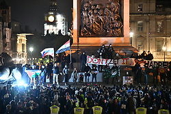 © Licensed to London News Pictures. 05/11/2017. London, UK. Demonstrators take part in the Million Mask March, an anti-capitalist protest organised by Anonymous UK. The march takes place on Guy Fawkes Night, also known as bonfire night, the anniversary of the gunpowder plot to blow up the Houses of Parliament in London. Police have announced a series of restriction in an attempt to control the event. Photo credit: Ben Cawthra/LNP