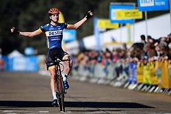 February 24, 2019 - Oostmalle, BELGIUM - Dutch Maik Van Der Heijden celebrates as he crosses the finish line to win the U23 race at the 'Internationale Sluitingsprijs Oostmalle' cyclocross race, Sunday 24 February 2019, in Oostmalle, the last race of the 2018-2019 season. BELGA PHOTO DAVID STOCKMAN (Credit Image: © David Stockman/Belga via ZUMA Press)