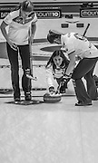 """Glasgow. SCOTLAND. Scotland's  """"Skip""""  Eve MUIRHEAD, releases  the """"Stone"""" as it move away from the """"Hog Line"""" during the Le Gruyère European Curling Championships. 2016 Venue, Braehead  Scotland<br /> Sunday  20/11/2016<br /> <br /> [Mandatory Credit; Peter Spurrier/Intersport-images]"""