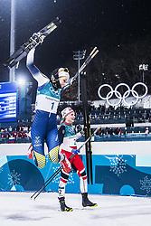 February 13, 2018 - Stockholm, Sweden - OS 2018 i Pyeongchang. Sprint, damer. Stina Nilsson, längdskidÃ¥kare Sverige, vann och Majken Kaspersen Falla, Norge, kom tvÃ¥a. tävling action landslaget guld glad jublar segergest (Credit Image: © Orre Pontus/Aftonbladet/IBL via ZUMA Wire)