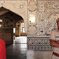 An Indian army guard gives a less than welcoming look to a visitor to the Palace of Mirrors at the Amber Palace in Jaipur.<br /> Photo by Shmuel Thaler <br /> shmuel_thaler@yahoo.com www.shmuelthaler.com
