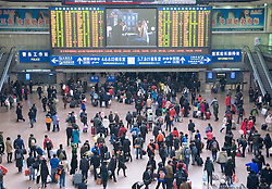 Busy concourse at Beijing Railway station during peak travel season at Chinese New Year in 2009