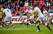 England fly-half Harry Mallinder feeds the ball to No.8 Zach Mercer during the World Rugby U20 Championship  match England U20 -V- Australia U20 at The AJ Bell Stadium, Salford, Greater Manchester, England on June  15  2016, (Steve Flynn/Image of Sport)