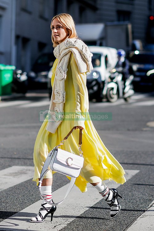 Street style, Charlotte Groeneveld arriving at Chloe spring summer 2019 ready-to-wear show, held at Maison de la Radio, in Paris, France, on September 27th, 2018. Photo by Marie-Paola Bertrand-Hillion/ABACAPRESS.COM