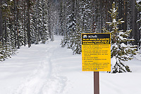 Warning sign at entrance to backcountry area, Manning Provincial Park British Columbia Canada