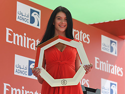 February 24, 2019 - Abu Dhabi, United Arab Emirates - A hostess with the Official Trophy seen ahead the beginning of the Team Time Trial, the opening ADNOC stage of the inaugural UAE Tour 2019..On Sunday, February 24, 2019, Abu Dhabi, United Arab Emirates. (Credit Image: © Artur Widak/NurPhoto via ZUMA Press)
