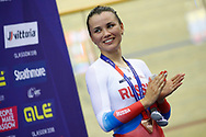 Podium, Women Points Race, Gulnaz Badykova (Russian Federation) bronze medal during the Track Cycling European Championships Glasgow 2018, at Sir Chris Hoy Velodrome, in Glasgow, Great Britain, Day 3, on August 4, 2018 - Photo Luca Bettini / BettiniPhoto / ProSportsImages / DPPI