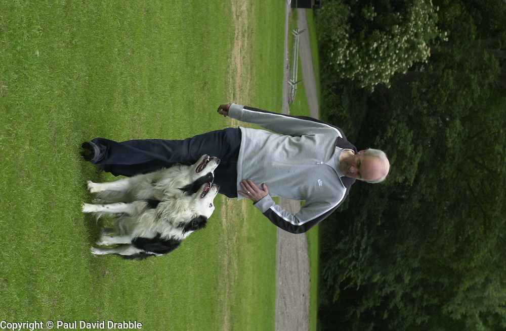 Eddie Sander with his Dogs Jackson and Inka<br /><br />18 June 2004<br /><br />Copyright Paul David Drabble<br /> [#Beginning of Shooting Data Section]<br />Nikon D1 <br /> Focal Length: 80mm<br /> Optimize Image: <br /> Color Mode: <br /> Noise Reduction: <br /> 2004/06/18 09:40:09.1<br /> Exposure Mode: Manual<br /> White Balance: Auto<br /> Tone Comp: Normal<br /> JPEG (8-bit) Fine<br /> Metering Mode: Center-Weighted<br /> AF Mode: AF-S<br /> Hue Adjustment: <br /> Image Size:  2000 x 1312<br /> 1/200 sec - F/7.1<br /> Flash Sync Mode: Not Attached<br /> Saturation: <br /> Color<br /> Exposure Comp.: 0 EV<br /> Sharpening: Normal<br /> Lens: 80-200mm F/2.8<br /> Sensitivity: ISO 200<br /> Image Comment: <br /> [#End of Shooting Data Section]