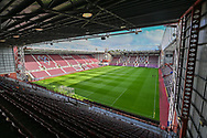 General view inside Tynecastle Park, Edinburgh, Scotland before the Cinch SPFL Premiership match between Heart of Midlothian FC and Celtic FC on 31 July 2021.
