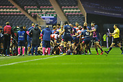 Touchline brawl spills off the pitch at the end of the first half of the European Rugby Challenge Cup match between Gloucester Rugby and Stade Francais at BT Murrayfield, Edinburgh, Scotland on 12 May 2017. Photo by Kevin Murray.