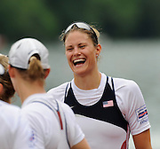 Lucerne, SWITZERLAND.   Women's Eights Final, USA W8+ celebrate on the awards dock before the medal presentation, at the  2008 FISA World Cup Regatta, Round 2.  Lake Rotsee, on Sunday, 01/06/2008.  [Mandatory Credit:  Peter Spurrier/Intersport Images].Lucerne International Regatta. Rowing Course, Lake Rottsee, Lucerne, SWITZERLAND. USA W8+, Zsuzsanna FRANCIA,
