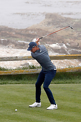 June 12, 2019 - Pebble Beach, CA, U.S. - PEBBLE BEACH, CA - JUNE 12: PGA golfer Jordan Spieth tees off on the 18th hole during a practice round for the 2019 US Open on June 12, 2019, at Pebble Beach Golf Links in Pebble Beach, CA. (Photo by Brian Spurlock/Icon Sportswire) (Credit Image: © Brian Spurlock/Icon SMI via ZUMA Press)