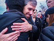 01 NOVEMBER 2019 - DES MOINES, IOWA: BETO O'ROURKE hugs a supporter after announcing that he is dropping out of the race for the presidency. Iowa holds the first presidential selection event of the 2020 election cycle. The Iowa Caucuses are Feb. 3, 2020.            PHOTO BY JACK KURTZ