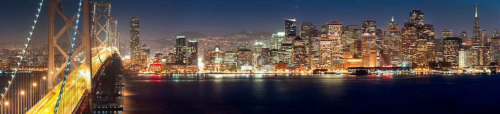 The San Francisco skyline and Bay Bridge are seen from Yerba Buena Island. San Francisco, CA.
