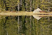 Reflections in String Lake.  Grand Teton National Park.  Wyoming, USA.