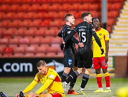 Dunfermline's Kevin Nisbet cele scoring their fifth goal, and his fourth. Dunfermline 5 v 1 Partick Thistle, Scottish Championship game played 30/11/2019 at Dunfermline's home ground, East End Park.