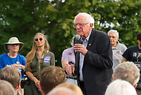 Democratic Presidential candidate Bernie Sanders speaks to the crowd gathered at the Wolfeboro Inn on Monday evening.  (Karen Bobotas/for the Laconia Daily Sun)