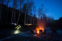 Camping along the Bogachiel River Olympic Peninsula, WA.
