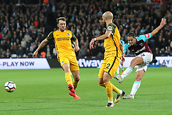 20 October 2017 - Premier League Football - West Ham United v Brighton and Hove Albion - Javier (Chicharito) Hernandez of West Ham has a shot - Photo: Charlotte Wilson / Offside