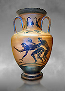 Erotic 5th cnetury BC attica style anfora of two men, black against an potrange background, Caolina Murat Collection inv no 27670, Secret Museum or Secret Cabinet, Naples National Archaeological Museum , grey art background