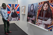 Works by Niloufar Banisadr, reflecting the conflict between liberty and censorship, in Gallerie 55 Bellechasse - The 29th edition of London Art Fair takes place in the Business and Design Centre, Islington, from18-22January 2017.