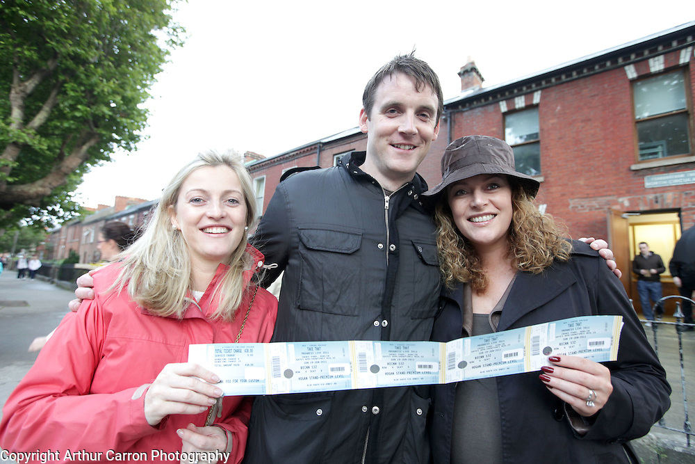 18/6/11 Take That fans Niamh and Caragh Nolan and Brian Kearney at Croke Park, Dublin. Picture:Arthur Carron