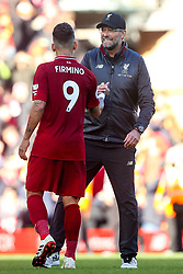 Liverpool manager Jurgen Klopp celebrates victory over Fulham with Roberto Firmino of Liverpool - Mandatory by-line: Robbie Stephenson/JMP - 11/11/2018 - FOOTBALL - Anfield - Liverpool, England - Liverpool v Fulham - Premier League