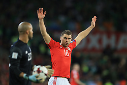 9 October 2017 -  2018 FIFA World Cup Qualifying (Group D) - Wales v Republic of Ireland - Sam Vokes of Wales reacts as Republic of Ireland goalkeeper Darren Randolph holds up the ball - Photo: Marc Atkins/Offside