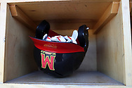 WINSTON-SALEM, NC - JUNE 02: Maryland batting helmet. The West Virginia University Mountaineers played the University of Maryland Terrapins on June 2, 2017, at David F. Couch Ballpark in Winston-Salem, NC in NCAA Division I College Baseball Tournament Winston-Salem Regional Game 1. West Virginia won the game 9-1.
