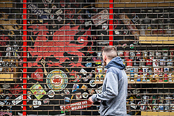 © Licensed to London News Pictures. 23/10/2020. Cardiff, UK. A Welsh gift shop closed with it's shutters down in the city centre of Cardiff on the day that the Welsh Goverment's seventeen-day-long, 'Firebreak Lockdown' comes into action to try and control the spread of coronavirus across Wales. Photo credit: Robert Melen/LNP