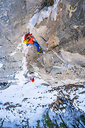 Steve House on on the 2nd pitch of the Ames Ice Hose in thin conditions. Ames, Colorado