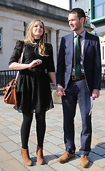 "© Licensed to London News Pictures. 9/05/2016. Belfast, Northern Ireland, UK. Amy and Daniel McArthur from Ashers Baking Company arrive at Belfast High Court for the start of an Appeal hearing over the so called 'gay marriage cake row'. The legal appeal by Ashers Baking Company in the case is to be heard over two days. In May last year a judge at Belfast County Court ruled that the bakery had acted unlawfully. The court ordered Ashers to pay £500 damages after Judge Isobel Brownlie said the customer had been treated ""less favourably"" contrary to the law and the bakery had breached political and sexual orientation discrimination regulations. But the McArthur family who own and run Ashers decided to challenge the ruling following consultations with their legal advisors. The family has been given the full support of The Christian Institute, which has funded their defence costs. The legal case followed a decision in May 2014 by Ashers to decline an order placed at its Belfast store by a gay rights activist who asked for a cake featuring the Sesame Street puppets, Bert and Ernie, and the campaign slogan, 'Support Gay Marriage'. The customer also wanted the cake to feature the logo of a Belfast-based campaign group QueerSpace. Ashers, owned by Colin and Karen McArthur, refused to make the cake because it carried a message contrary to the family's firmly-held Christian beliefs. They were supported by their son Daniel, the General Manager of the company. But the Equality Commission for Northern Ireland (ECNI) launched a civil action against the family-run bakery, claiming its actions violated equality laws in Northern Ireland and alleging discrimination under two anti-discrimination statutes – The Equality Act (Sexual Orientation) Regulations (NI) 2006 and The Fair Employment and Treatment (NI) Order 1998. Photo credit : Paul McErlane/LNP"