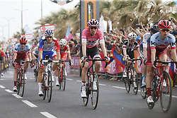 May 5, 2018 - Tel Aviv, ISRAEL - Leader in the general ranking Dutch Tom Dumoulin of Team Sunweb, wearing the pink jersey (C) pictured at the second stage of the 101st edition of the Giro D'Italia cycling tour, from Haifa to Tel Aviv (167km), Israel, Saturday 05 May 2018...BELGA PHOTO YUZURU SUNADA FRANCE OUT (Credit Image: © Yuzuru Sunada/Belga via ZUMA Press)