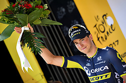 July 21, 2017 - Salon-De-Provence, FRANCE - Belgian Jens Keukeleire of Orica - Scott receives the combativity award for the most aggressive rider after the nineteenth stage of the 104th edition of the Tour de France cycling race, 222,5km from Embrun to Salon-de-Provence, France, Friday 21 July 2017. This year's Tour de France takes place from July first to July 23rd. BELGA PHOTO DAVID STOCKMAN (Credit Image: © David Stockman/Belga via ZUMA Press)
