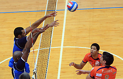 Tevares Luz Andre vs Thomas Delano at finals of Slovenian volleyball cup between OK ACH Volley and OK Salonit Anhovo Kanal, on December 27, 2008, in Nova Gorica, Slovenia. ACH Volley won 3:2.(Photo by Vid Ponikvar / SportIda).